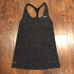 Nike Dri-Fit Black Speckled Tank with Shelf Bra